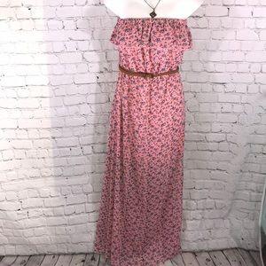 Romantic floral print strapless maxi dress belt S